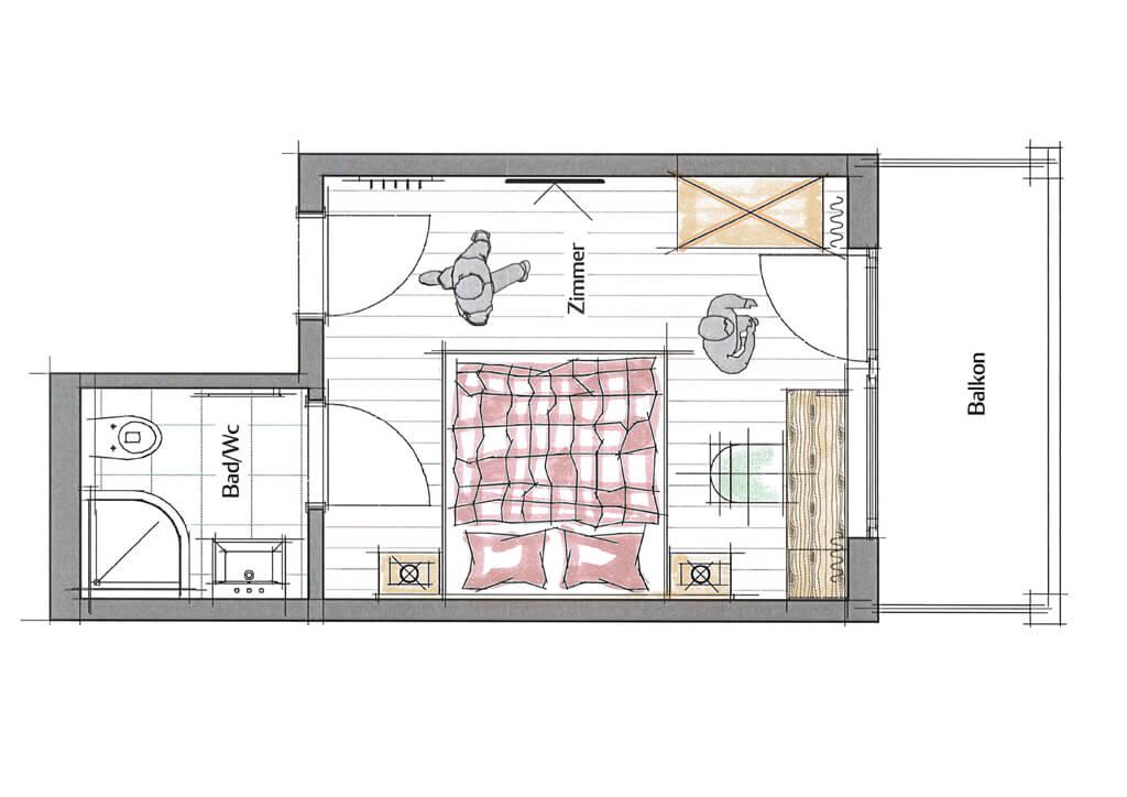 Doppelzimmer – Plan